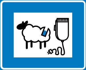 humoristinen liikennemerkki lampaan keritsimisestä