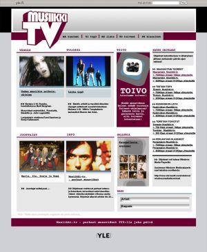 Musiikki-tv:n kotisivut vuonna 2006.