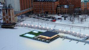 Datorgrafik över ett förslag på en flytande terrasspaviljong i Inre hamen i Vasa.