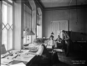 Gamla Järnvägsstationens kontor i Helsingfors år 1909.