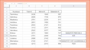 Excel kuva 8 Tammikuun tietojen kopioiminen