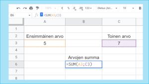 Excel kuva 5 - summan laskeminen 2