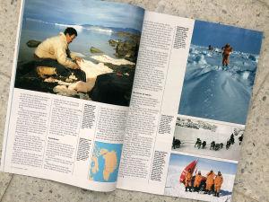 Bilder som Pentti tagit ute på en utfärd. Visas i en tidning. Bilderna visar män som skidar och poserar framför en pulka.