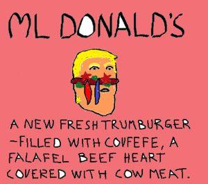 Satirbild av Donald Trump ritad i Paint