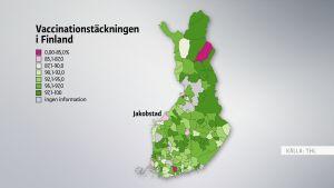 Karta över vaccinationstäckningen i Finland.