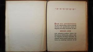 Tekstisivu Arvid Lindin saamasta onnittelukirjasta.
