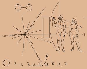 Bild av naken man och kvinna som ingick i den gyllene plaketten på Pioneersonderna.