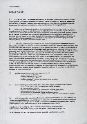Ilpo ja Seija Okkosen laatima ensimmäinen tiedote vuodelta 1991