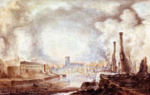 Maalaus, jossa Turku on palanut pahasti vuonna 1827.