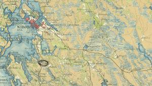 Vuoden 1855 kartta Viipurin lähialueista.