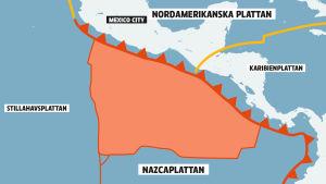 nazcaplattan kolliderar med den nordamerikanska plattan