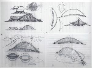 Arkkitehti Eero Saarisen luonnoksia Yalen yliopiston Ingalls Rink -jäähallia varten
