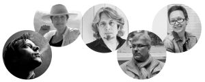 Venäläisiä kirjailijoita: Roman Senchin, Dina Rubina, Vladimir Sorokin,Jevgeni Vodolazkin ja Guzel Jahina