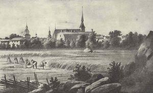Vy över staden Vasa från nordost, före branden 1852. En litografi av Johan Knutson, 1840-tal.
