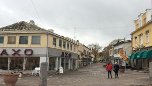 Gågatan i Pargas med Axos bageributik