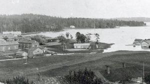 En gammal bild över gästhamnsområdet i Pargas