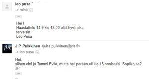 J.P. Pulkkisen sähköposti Leo Pusalle
