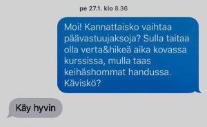 Tekstiviesti Urheilu-Suomen tiimin työskentelyssä
