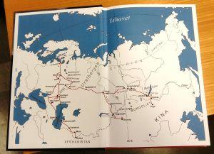 Karta över Gustaf John Ramstedts forskningsresor i Asien 1898-1905.