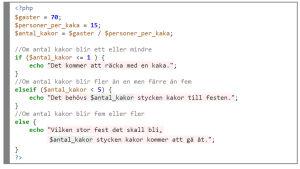 En algoritm skriven i programmeringsspråket PHP.