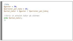 Algoritmen skriven i programkod, i programmeringsspråket PHP.