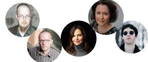 Kirjailijoiden kuvia: Tuomas Kyrö, Jaakko Yli-Juoikas, Maria Peura, Jenni Haukio ja Miki liukkonen