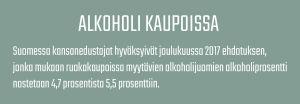 Tietolaatikko alkoholin myynnistä kaupoissa Suomessa.