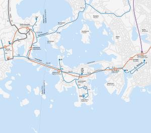 karta över nya busslinjer på drumsö och otnäs