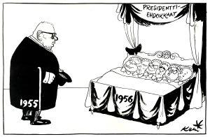 Kari Suomalaisen pilapiirros presidentinvaalien ehdokkaista 1956.