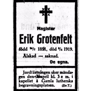 Dödsannons för Erik Grotenfelt.
