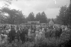 Paljon väkeä Hörtsänän arboretumin juhlakentällä, mustavalkoinen kuva, otettu 1930-luvulla.
