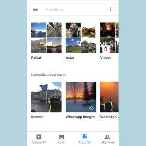Ruutukaappaus: Google Kuvat -sovelluksen Albumit-välilehti.