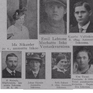 Några personer som arkebuserades i Västankvarn i Ingå i maj 1918.