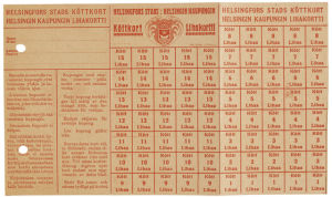 Ransoneringskort för kött från år 1917-1918 i Helsingfors.