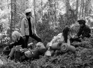 Käpy selän alla -elokuvan nelikko metsässä.