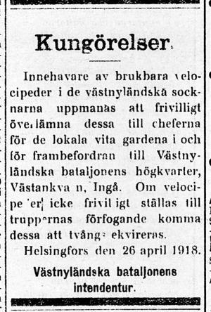 Kungörelse i Svenska Tidningen 26.4.1918 om behov av cyklar för Västnyländska bataljonen i Västankvarn i Ingå.