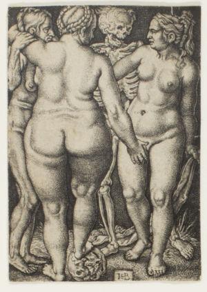 Kuolema-luuranko tuijottaa kolmea alastonta naista, jotka hyväilevät toisiaan