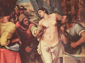Öljyvärimaalaus pyhän Agathan kärsimykset
