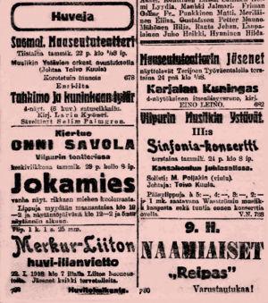 Konsertti-ilmoituksia Viipurin sanomissa 22.1.1918.