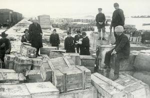 Suomeen palanneita jääkäreitä (1918).