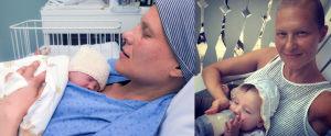 Kahden kuvan kollaasi, jossa Heini Hirvonen vastasyntyneen lapsen kanssa.