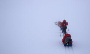 Sju personer skidar på rad. Alla släpar på pulkor bakom sig. Det är dimmigt och man ser inte horisonten. Bara snö.