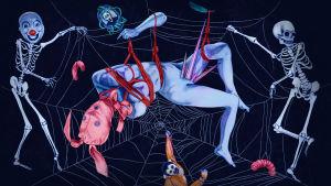 Alaston nainen rimpuilee hämähäkin seitissä luurankojen ympäröimänä