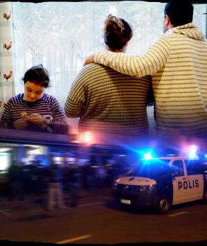 Kollage med papperslös familj och polisbil i uttryckning