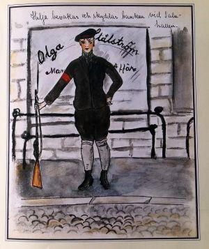 "Illustration ur Ellinor Mends seriemagasin ""Punikkityttö ja jääkäriupseeri"" (Wsoy, 1982)"