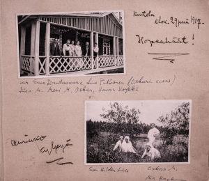 Valokuvia Merikannon kotialbumista.