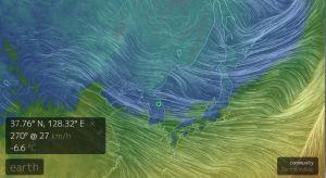Luftströmmarna över Pyeongchang, Sydkorea.