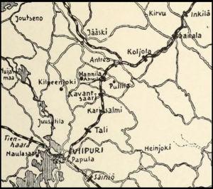 Karttakuva Viipurin ympäristöstä 1918.