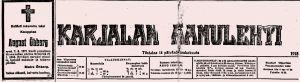 Kuolinilmoitus Karjalan Aamulehdessä toukokuussa 1918.