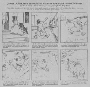 """Seriestrippen """"Juha Ankkanen"""" av Jalmari Finne och Ola Fogelberg i Suomen Kuvalehti 26.01.1918."""